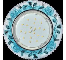 Светильник Ecola GX53 H4 LD7071 Розы прозр-голуб/хром FB53CREFB
