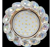 Светильник Ecola GX53 H4 5342 Круг с больш хруст прозр/золото FM53RVECB