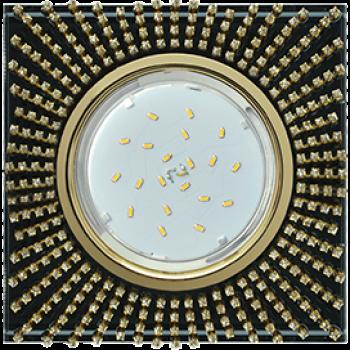Светильник Ecola GX53 H4 5352 Квадрат прозр стразы черн-зол FP53SGECB