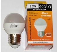 Лампа светодиодная Ecola Premium G45 E14 шар 5W 4000K