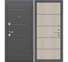 Дверь мет Groff Т2-204 Антик Серебро / Cappuccino Crosscut